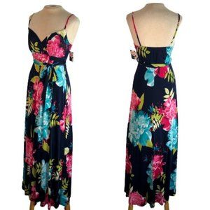 Janette John 3:16 Floral Maxi Tank Dress Blue Pink